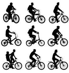 Set silhouette of a cyclist male and female vector