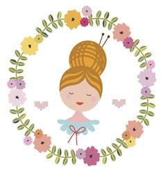 Floral wreath with girl portrait vector