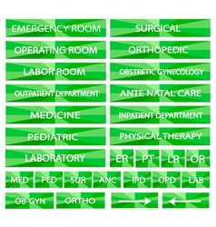 Set of hospital sign and medical abbreviations vector