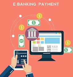 Flat design concepts of online payment methods vector