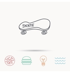 Skateboard icon skating sport sign vector