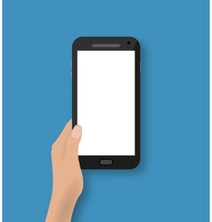 Hand holding black touch phone vector