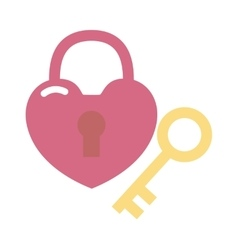 Heart lock and key flat valentine design vector