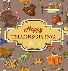 Thanksgiving background with acorns leaves and vector