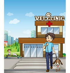 People taking pet to animal clinic vector image