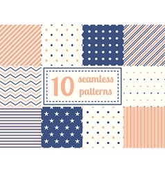 Set of ten seamless patterns vector image