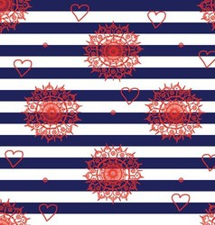 Seamless flower pattern with navy stripes vector image
