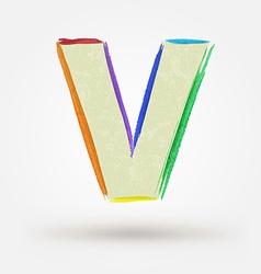 Alphabet letter v watercolor paint design element vector