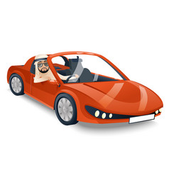 Arab driver riding road retro cartoon sport car vector