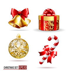 bells gift box candycane and christmas ball vector image vector image