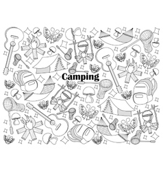 Camping colorless set vector