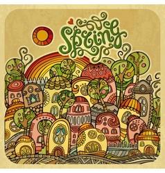 Cartoon fairy-tale spring houses vector image