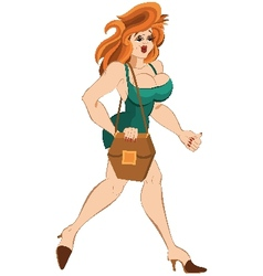 Cartoon girl in short dress and red hair walking vector image vector image
