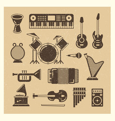 classic music instruments grunge silhouettes set vector image