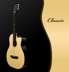Classical acoustic guitar on black background vector