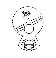 Driver at steering wheel autonomous satellite gps vector