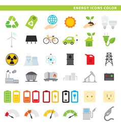 Energy icons color vector
