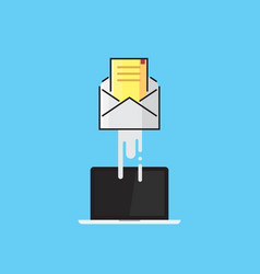 Envelope flies out of the laptop e-mail email vector