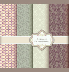 floral pattern set geometric fabric seamless vector image vector image