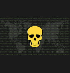Global attack ransomware skull with binary code vector