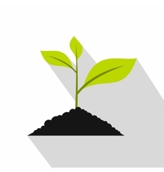 Green seedling in soil pile icon flat style vector
