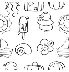 Hand draw object summer holiday doodles vector