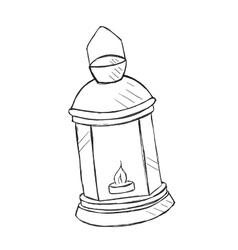 Hand drawn kerosene lamp doodle style vector