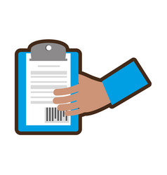 Hand holding delivery clipboard code bar vector