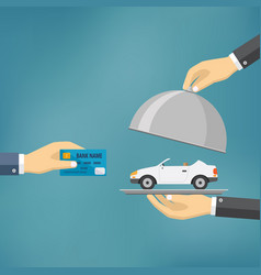Hands holding credit card and cloche with car vector
