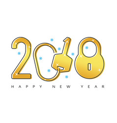 Happy 2018 new year flat thin line gold greeting vector