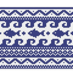 knitted marine pattern vector image vector image