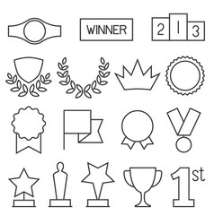 prizes and awards outline icon collection vector image