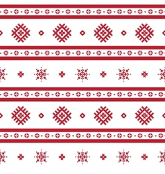 Red nordic knitted seamless pattern vector