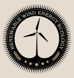 Retro styled badge with wind turbine vector