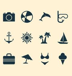 Season icons set collection of sunny tube vector