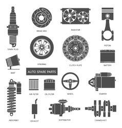 Set of auto spare parts car repair icons in flat vector
