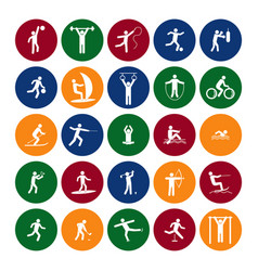 Sport icon playing people set color in the circle vector