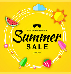 Summer sale template flat paper banner vector