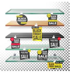 supermarket shelves black friday sale advertising vector image vector image