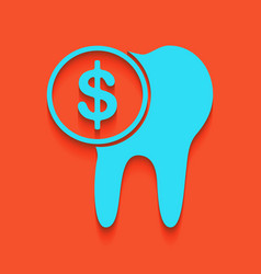 The cost of tooth treatment sign whitish vector