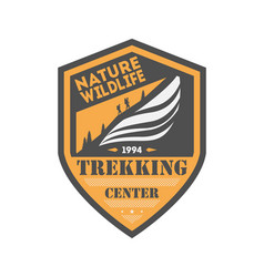 Trekking center vintage isolated badge vector
