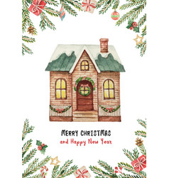 Watercolor greeting card with christmas vector