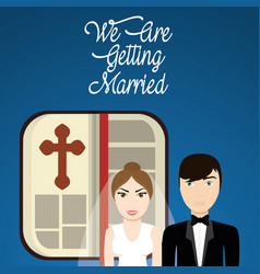 We are greeting married couple with bible vector