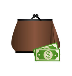 Woman purse with bills icon design vector