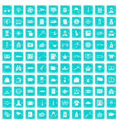 100 police icons set grunge blue vector