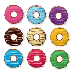 Colorful delicious donuts isolated on white vector image