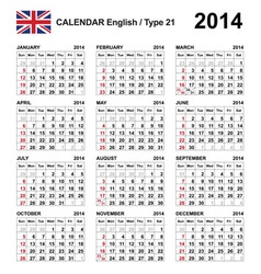 Calendar 2014 english type 21 vector