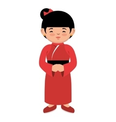 Lovely girl red kimono japanese icon graphic vector