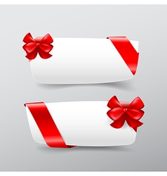 043 collection of white tag banner with red ribbon vector