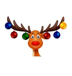Cute deer with christmast ball vector